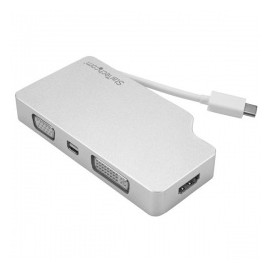 StarTech.com Adaptador 4 en 1 de Audio y Video para Viajes, USB-C a VGA, DVI, HDMI o mini DispayPort