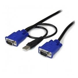 StarTech.com Cable KVM Ultra Delgado 2 en 1, USB/VGA Macho - VGA Macho, 3 Metros, Negro