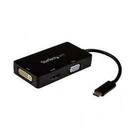 StarTech.com Adaptador Multipuertos USB-C Macho - HDMI-DVI-VGA Hembra, Negro