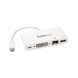 StarTech.com Hub Concentrador USB 3.0 de 1 Puerto, 1x RJ-45, 1x DVI-I, 5000 Gbits, Blanco