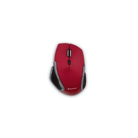 Mouse Verbatim Deluxe LED Azul con 6 Botones, Inalámbrico, Rojo