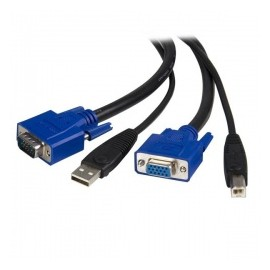 StarTech.com Cable KVM 2 en 1, USB VGA Macho - USB VGA Hembra, 1.8 Metros, Negro