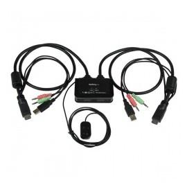 StarTech.com Switch KVM de 2 Puertos HDMI USB Audio con Cables Integrados