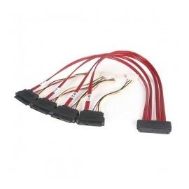 StarTech.com Cable SAS Serial Attached SCSI SFF 8484 - 4x SFF 8482, 50cm, Rojo