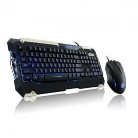 Kit Gamer de Teclado y Mouse Tt eSPORTS COMMANDER Azul, Alámbrico, USB, Negro