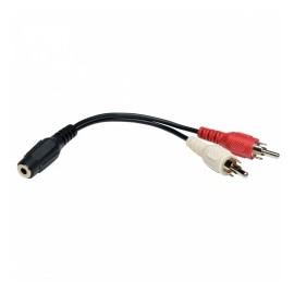 Tripp Lite Cable Adaptador Divisor en Y 2x RCA Macho - 3.5mm Hembra, 15cm, Negro