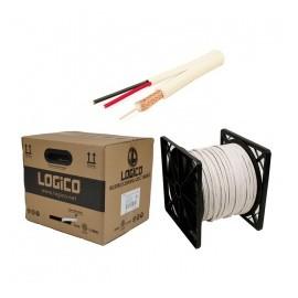 Logico Bobina de Cable Coaxial RG59, 305 Metros, Negro