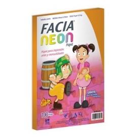Copamex Papel Facia Neon 75g/m², 100 Hojas de Tamaño Carta, Naranja