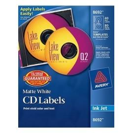 Q Productos Etiqueta para CD/DVD 8692, 120 Etiquetas