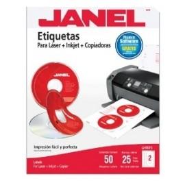 Janel Etiqueta Blanca para CD/DVD, 117mm, 50 Etiquetas, Rojo