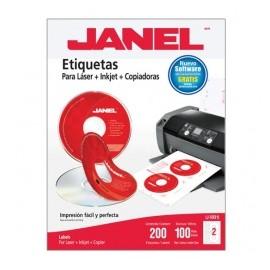 Janel Etiqueta Blanca para CD, Paquete de 200 Etiquetas