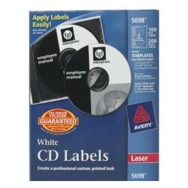 Avery Etiqueta para CD/DVD 5698, 100 Etiquetas