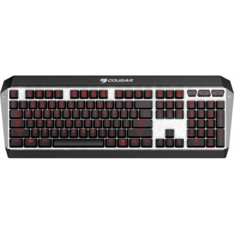 Teclado Gamer Cougar ATTACK X3 LED Rojo, Teclado Mecánico, Cherry MX, Alámbrico, Negro/Plata (Inglés)