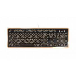 Teclado Azio MK-RETRO-03, Alámbrico, USB, Negro Oro (Inglés)