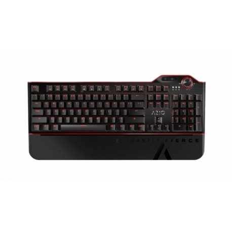Teclado Gamer Azio MGK L80 LED Rojo, Teclado Mecánico, Kailh Brown, Alámbrico, Negro (Inglés)