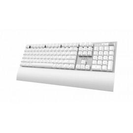 Teclado Azio MK-MAC, Mecánico, Cherry MX Marrón, Inalámbrico, Bluetooth, Blanco - para Mac (Inglés)