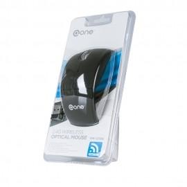 Mouse One Óptico EM-121, Inalámbrico, USB, 1000DPI, Negro